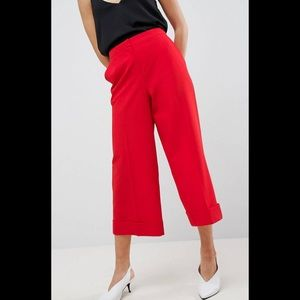 Tailored Culotte pant. Cropped wide leg suit pant.